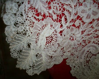 Point de Gaze/Brussels  lace collar 1800s heirloom hand done gorgeous!