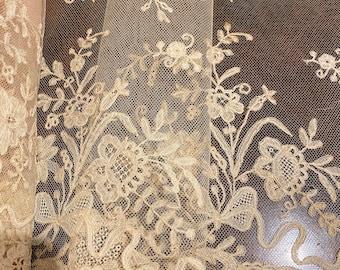 Antique lace hand done rare 1800s antique lace delicate design wide