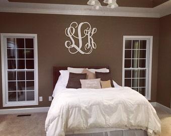 "Monogram Wall Hanging- Large Wooden Monogram Letters - Unfinished Vine Script Monogram - Wood Monogram - Monogram Wall Decor-  35"" x 35"""