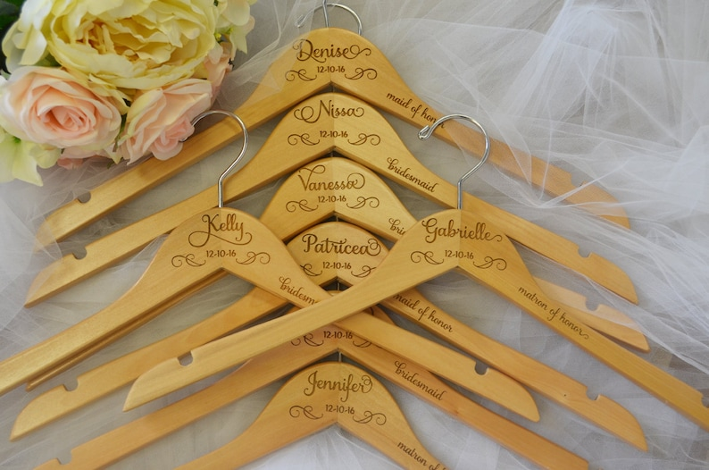 Personalized Wedding Dress Hangers Bridal Hanger Custom Engraved Hanger Bridal Party Hangers Wedding Hanger Bridesmaid Gift