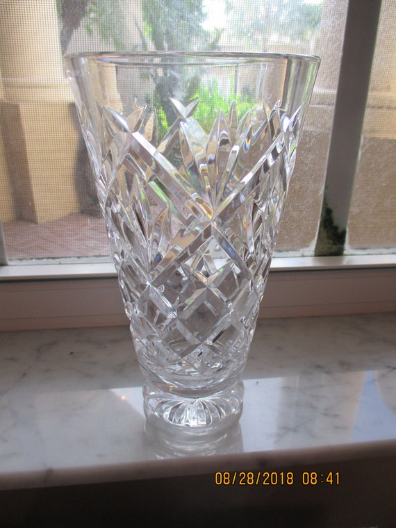 Waterford Crystal Vase Signed Exc 8 X 4 12 Etsy