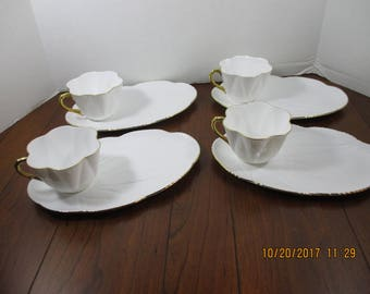 Shelley Regency Fine Bone English China Set Cups and Sandwich Plates (4 sets)