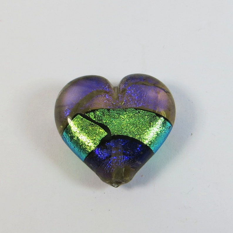 Dichroic Glass Heart by Paula Radke Fabulous Dichroic Glass Focal Heart Purple Green Blue Colour Changing Handmade Dichroic Glass Pendant