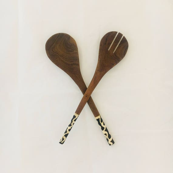 African Wooden Salad Servers Etsy
