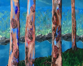 Bush Landscape Painting, Gum Trees, Original, Acrylic on Canvas, Australian Artist, Ready to Hang