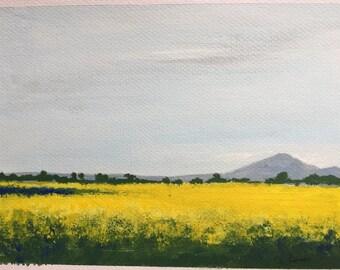 "Canola Fields Painting, Acrylic on Paper, Australian Artist, Landscape, 5x7"""