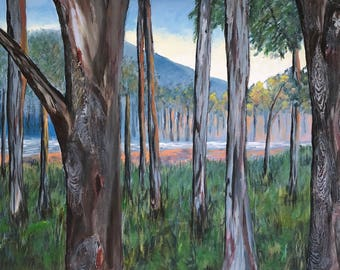 The Clearing, Landscape Painting, Gum Trees, River, Original, Acrylic on Canvas, Australian Artist, Ready to Hang