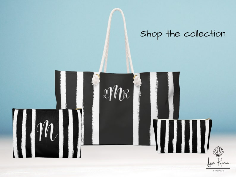 Black and White Accessory Pouch w T-bottom Personalized Monogram bag.