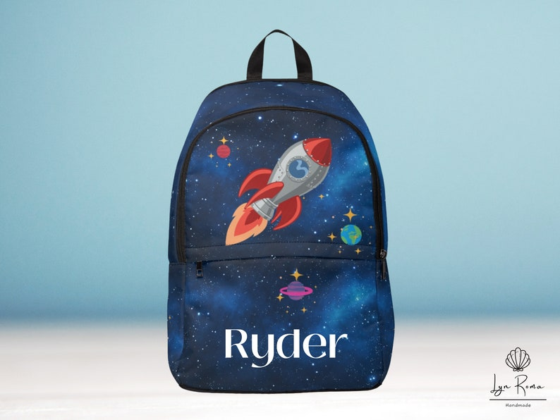 Spaceship backpack. planets solar system. Personalized Back image 0