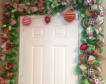 whimsical christmas garland red and green door garland christmas door swag deluxe christmas garland mantel garland door garland