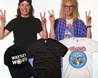 waynes world garth aerosmith t shirt with waynes hat complete halloween costume set youth adult sizes s 3xl party on