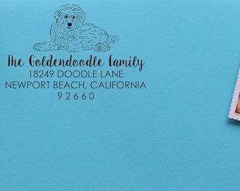 Doodle Address Stamp Goldendoodle Address Stamp Doodle Stamp 0075 Labradoodle Address Stamp Self Inking Address Stamp