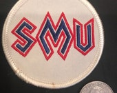 SMU Southern Methodist University vintage embroided patch old stock 2.5 quot x 2.5 quot