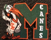 University Of Miami Hurricanes Vintage Embroidered Iron On Patch 3 quot x 2.5 quot