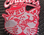 WSU Wazzu Washington State Cougars Vintage Embroidered Iron-On Patch 3 X 2.5 quot