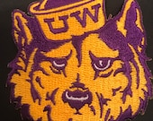 UW Washington Huskies Embroidered Iron On Patch Vintage 3 quot x 2.5 quot