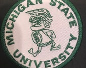 MSU Michigan State Spartans embroidered iron on patch vintage 3.5 x 2.75 quot