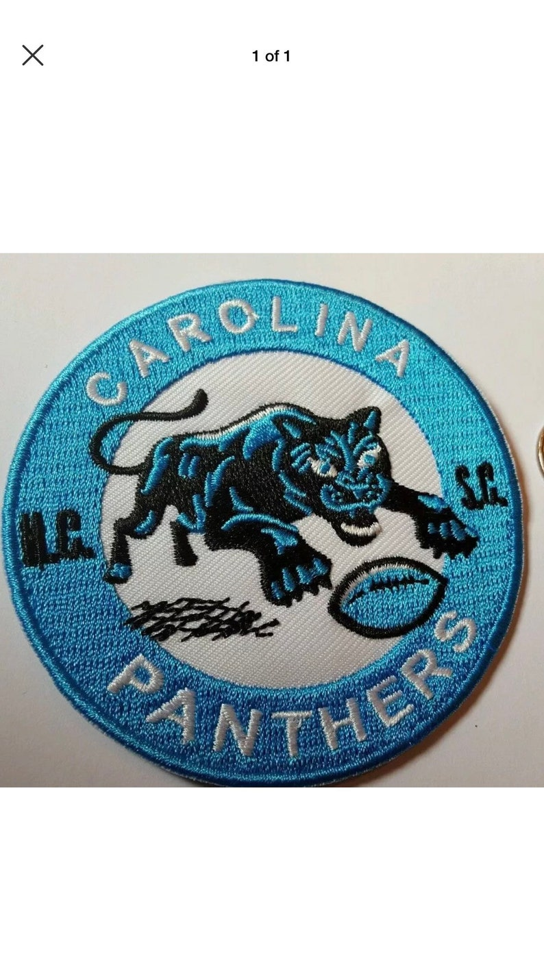 reputable site d7005 7ca5b Carolina Panthers vintage embroidered iron on logo patch 3x3