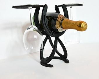 Wine Rack Made From Horseshoes Holds 10 Bottles Xmas