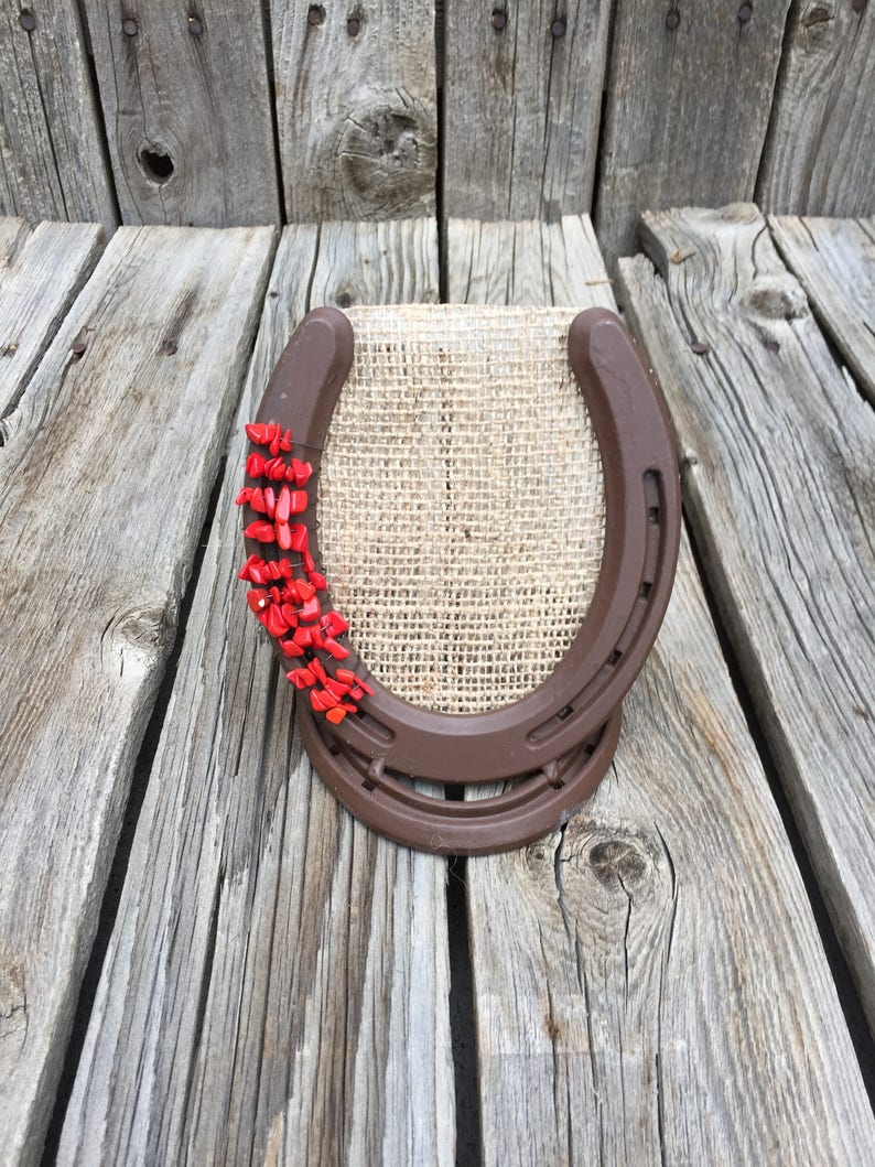 Brown Lucky Horseshoe Earring Holder Horse lover gift to organize jewelry