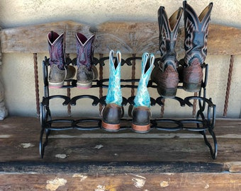 Boot Rack, 6 Pairs of Boots, Horseshoe Decor, Horseshoe Art, Boot Holder, Shoe Organizer, Cowboy Boot Rack, Gift for her or him