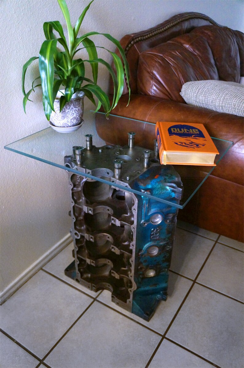 AMC 360 V8 Engine Block End Table with Glass Top