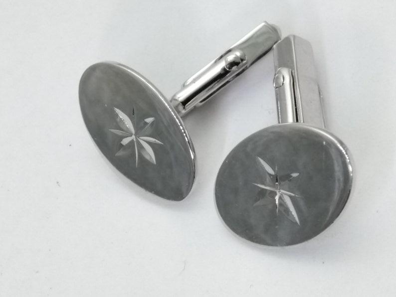 Vintage Sterling Silver Rhodium Plate Swank Star Cufflinks