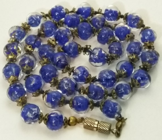 22 Murano Glass Beaded Necklace Blue Gold Excellent Etsy