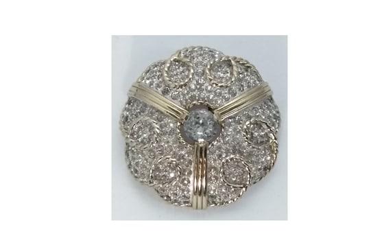 1980/'s Rhodium Plated Sterling Crystal Flowers Brooch
