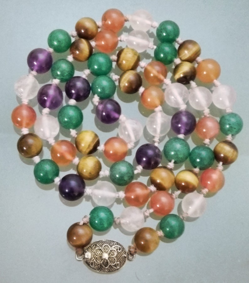 Vintage 9mm Multi Gemstone Chinese Export Silver Bead Necklace
