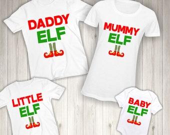 Personalised Elf Family Christmas T-Shirt - Matching Kids Girls Children  Boys Shirts Tshirts Xmas White Bodysuit Vest Named Gift 24b6aaebf