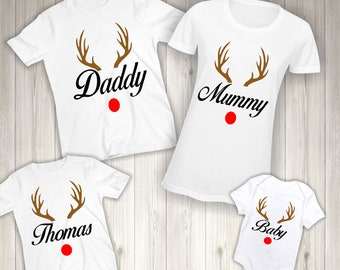 b03e496d Personalised Family Christmas T-Shirt - Matching Kids Girls Children Boys  Shirts Tshirts Reindeer Rudolph White Bodysuit Vest Named Gift