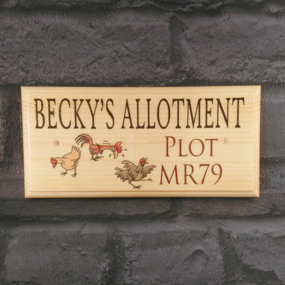 Personalised Garden Wood effect Outdoor allotment sign A4 metal Sign