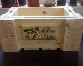 Handmade Wooden Box / Crate Men Only Need 2 Tools Beers Fathers Day Gift Basket Shed