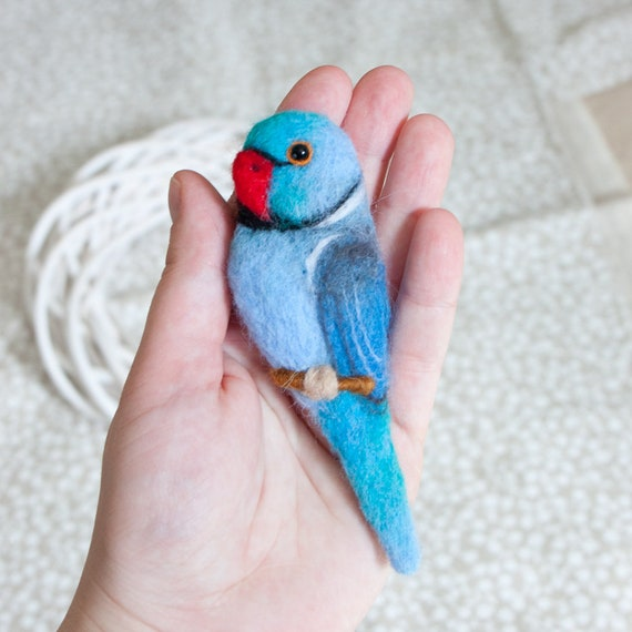 Blue Indian Ringneck Parrot Brooch Bird Jewelry Ringneck Pin Etsy
