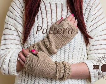 Fingerless Gloves Pattern, Knit Glove Pattern, Knit Glove Mittens Pattern, Knit Gloves, Instant Download /6001/