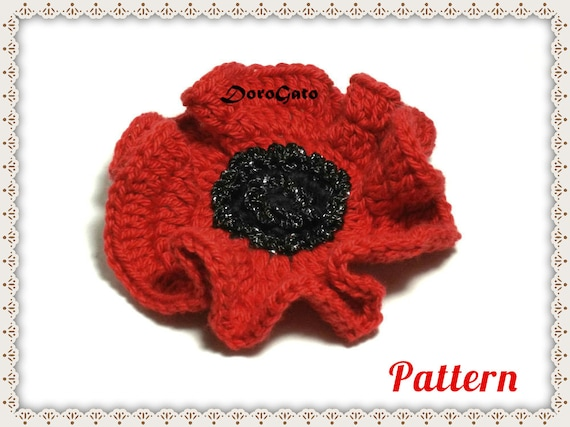 Easy Crochet Poppy Pattern Crochet Flower Written Pattern Etsy