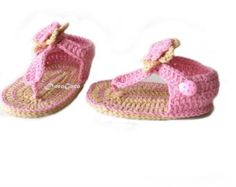 Crochet Baby Sandals Pattern, Tutorial Crochet Slippers, Baby Gladiator Sandals, Flip Flops, Double Soles, Instant Download /4008/