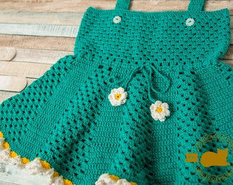 Crochet Daisy Dress Pattern, Baby Dress Pattern, Princess Dress, Infant Pinafore, Girl Clothing, Frilly Baby Dress, Instant Download /4016/