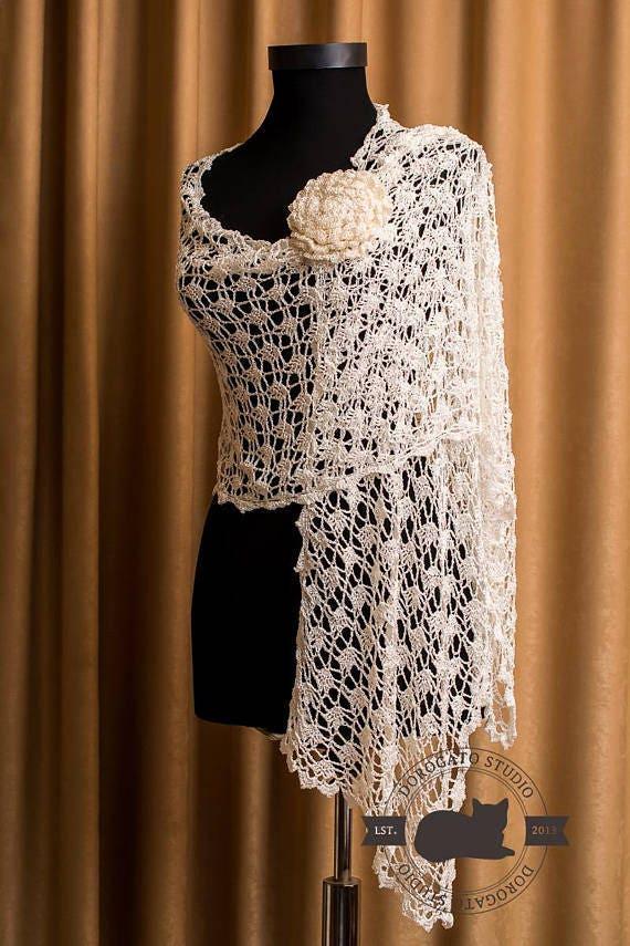 Crochet Shawl Pattern Crochet Stole Pattern Women Crochet Etsy