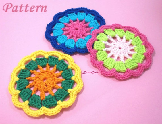 Tutorial Crochet Coasters Pattern Crochet Motif Round Motif Etsy