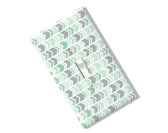 Mint Grey Arrow Chevron Light Switch Cover Outlet Pastel Multi Toggle Green Kitchen Dining Bedroom Home Decor Houseware Nursery