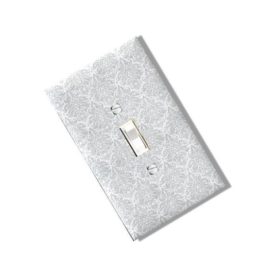DAMASK WHITE BLACK GRAY TEAL ~ LIGHT SWITCH COVER PLATE