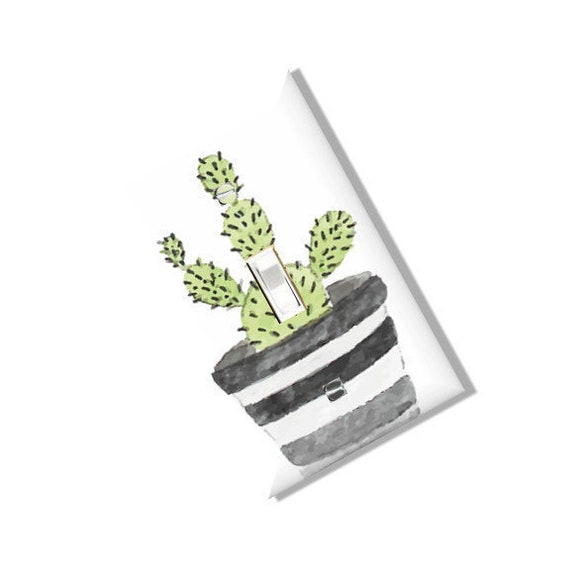 Succulent and Stripe Pottery Plant Family Light Switch Cover Plate Outlet  Home Decor Nursery Baby Minimal Scandi