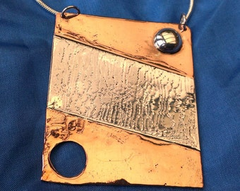 Strata 1 - Silver and Copper Pendant