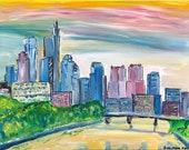 Philadelphia Skyline with River Painting