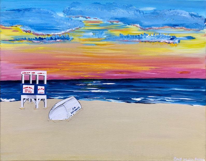 Ocean City NJ Lifeguard Stand Sunrise Painting image 0