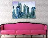 Gray and Purple Philadelphia Skyline Painting