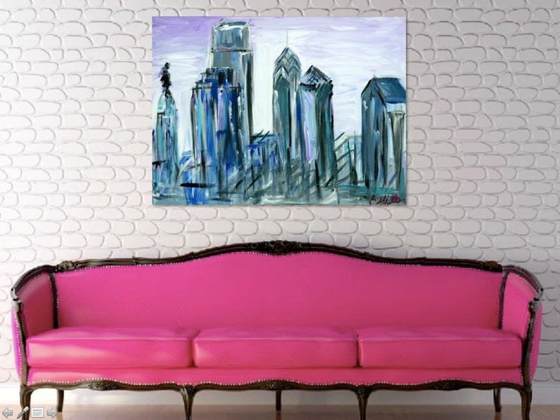 Gray and Purple Philadelphia Skyline Painting image 0