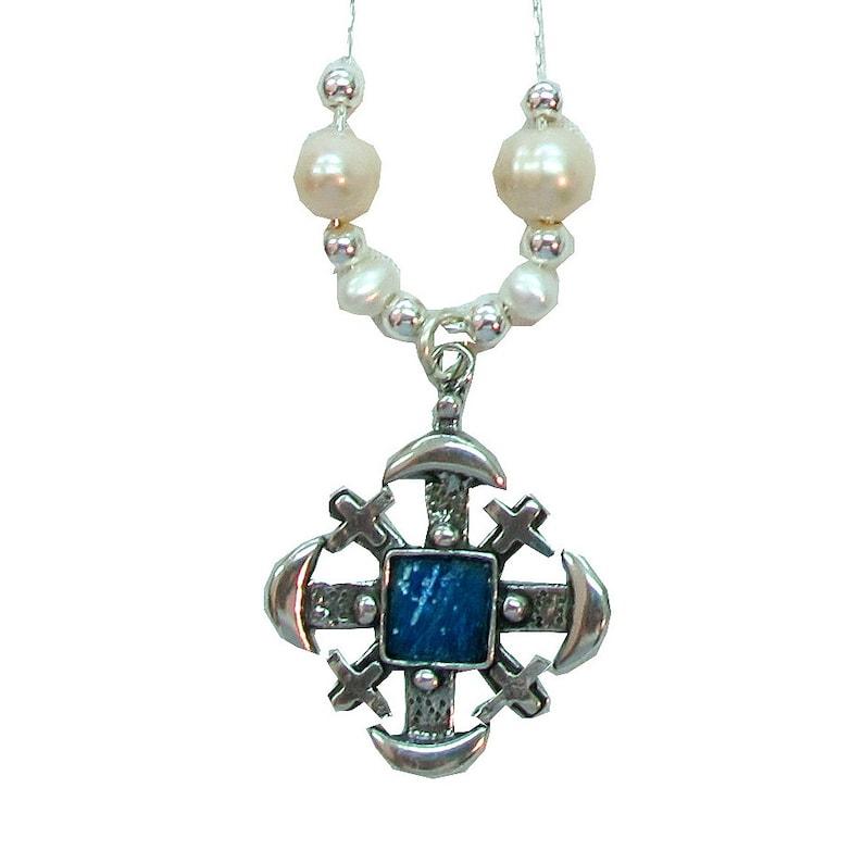 Roman Glass 925 Silver Jerusalem Cross Necklace with Freshwater Pearl Artisan Necklace Jerusalem Cross Necklace Beaded Necklace